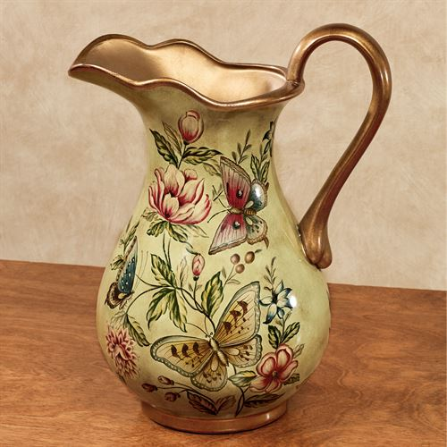 Floral Bliss Butterfly Decorative Pitcher Vase