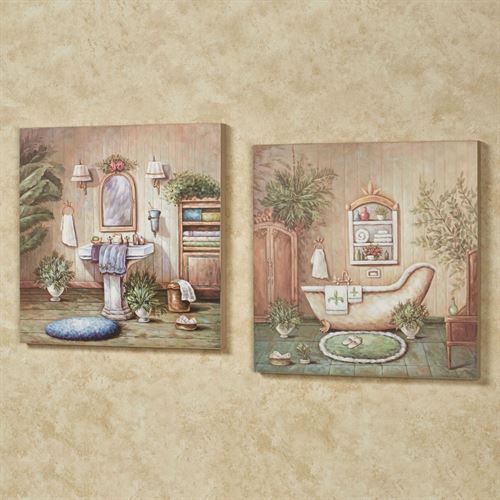 Blissful Bath Wall Plaque Set Multi Pastel Set of Two