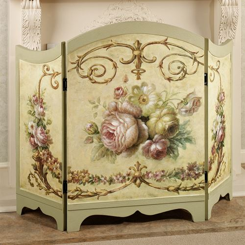 The wooden Victorian Rose Decorative Fireplace Screen features a center of lovely blooming roses and other florals with flower-filled vines on each side panel.