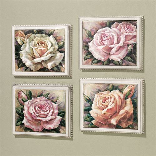 Blooming Roses Canvas Art Set Multi Pastel Set of Four