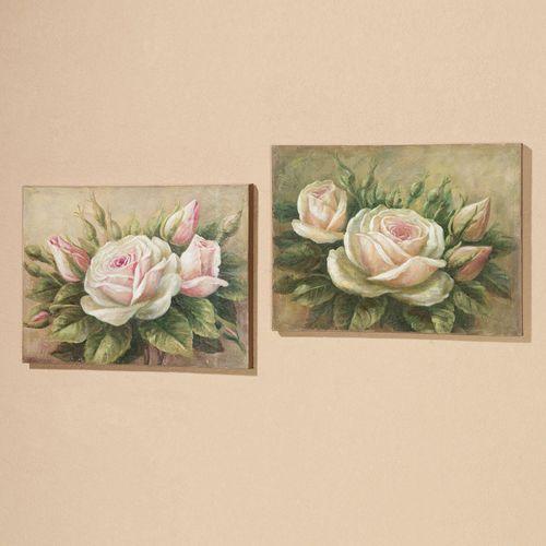 Delicate Petals Canvas Art Set Multi Pastel Set of Two
