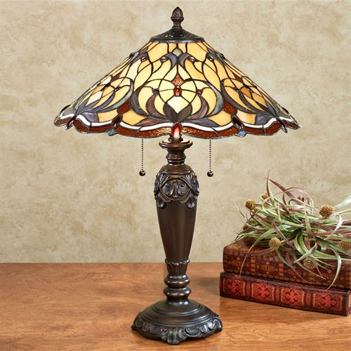 Michaela Stained Glass Table Lamp Multi Jewel Each with CFL Bulbs