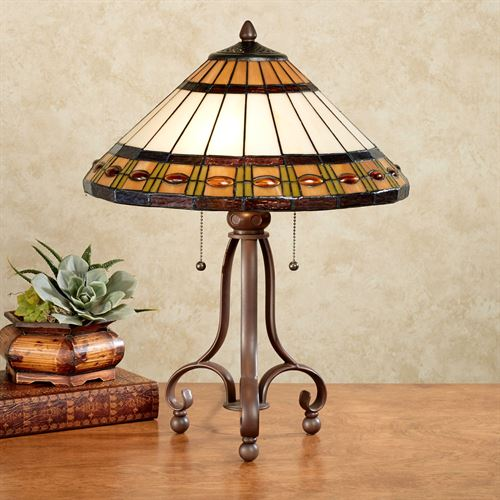 Teegan Stained Glass Table Lamp Ivory Each with CFL Bulb