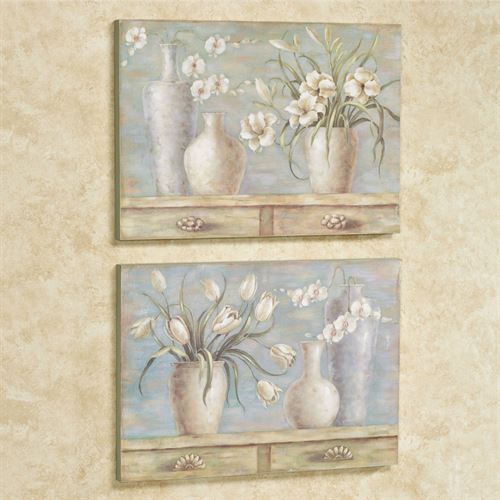 Floral Fantasy Wall Plaque Art Multi Cool Set of Two