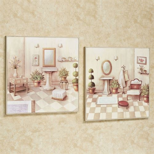 Soothing Retreat Bath Wall Art Cream Set of Two