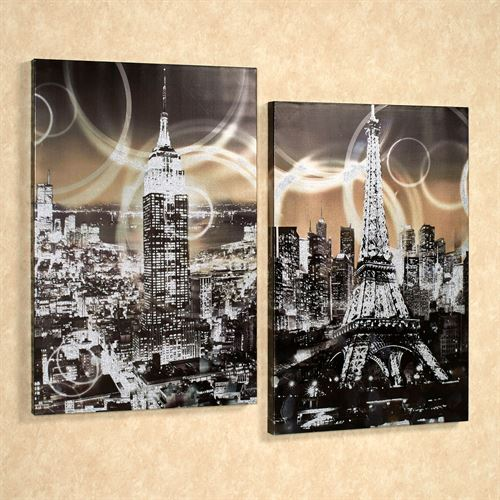 Cities Canvas Art Multi Metallic Set of Two