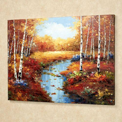Woodland Stream Canvas Art Multi Warm