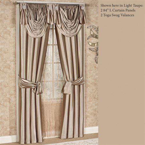Shimmer Satin Toga Valance Window Treatment