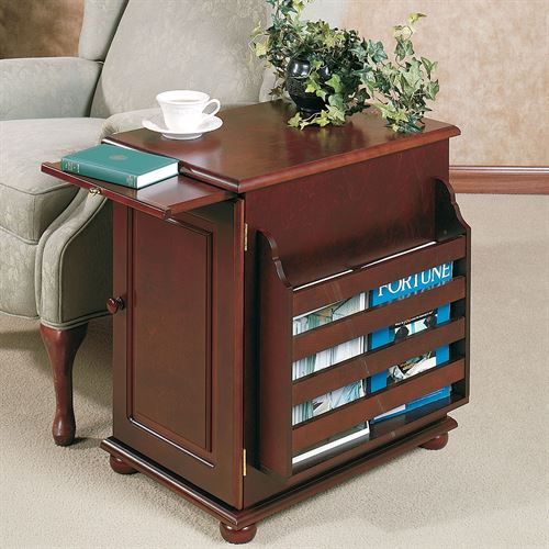 Aubrie Magazine Storage Table Classic Cherry