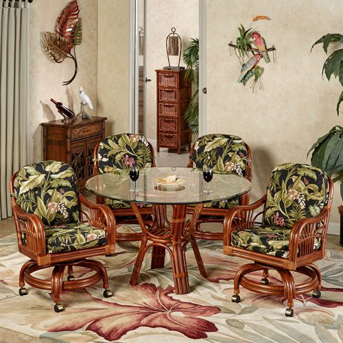 Leikela Round Dining Table with Caster Chairs Wailea Coast Round Set of Five