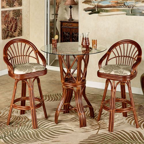 Leikela Bar Table with Two Stools Set of Three
