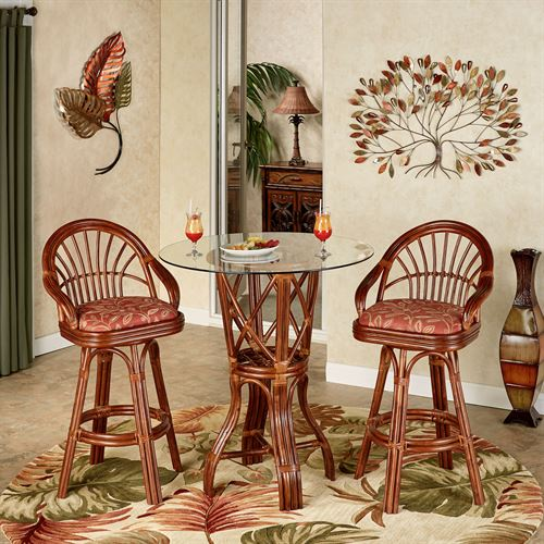 Leikela Bar Table with Two Stools Papaya Medley Set of Three
