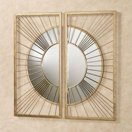 Sunburst Array Mirrored Wall Art Gold Set of Two