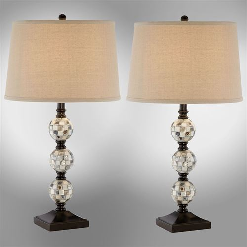 Abalone orbs mother of pearl table lamp pair abalone orbs table lamp pair multi earth aloadofball Choice Image