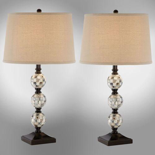 Abalone Orbs Table Lamp Pair Multi Earth