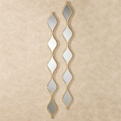 Teardrop Wall Mirror Panels Gold Pair