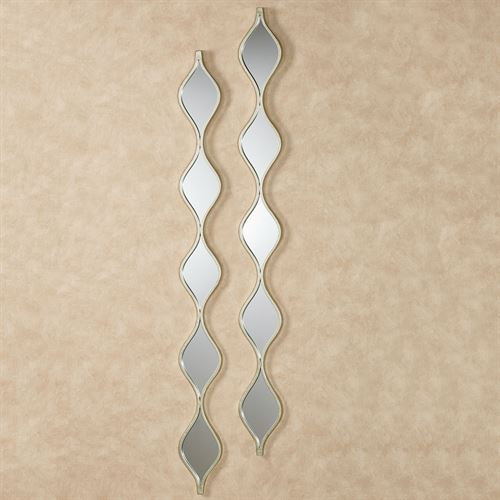Teardrop Wall Mirror Panels Platinum Pair