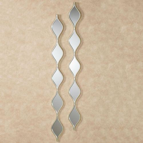 Teardrop Wall Mirror Panels Platinum Pair