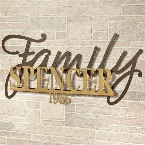 Signature Established Year Personalized Metal Wall Art Sign Gold/Bronze