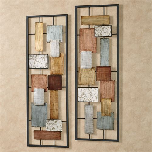 Urban Overlay Wall Art Multi Metallic Set of Two