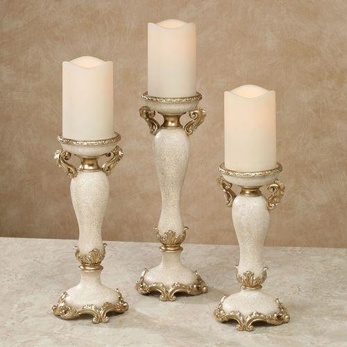 Frona Candleholders Ivory/Gold Set of Three
