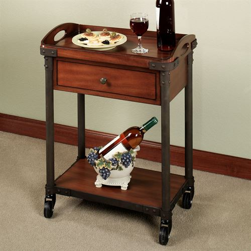 Levanzo Serving Cart with Tray Regal Walnut