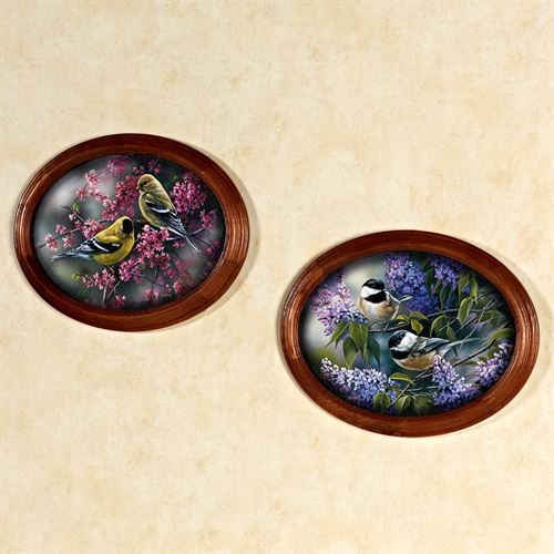 Birds and Blooms Framed Wall Art Set Multi Warm