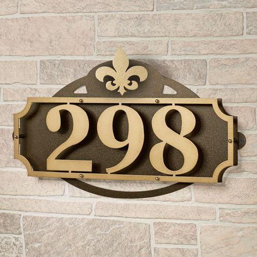 La Casa Fleur de Lis House Number Wall Address Sign Gold/Bronze