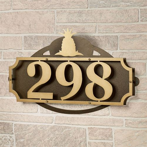 La Casa Pineapple House Number Wall Address Sign Gold/Bronze