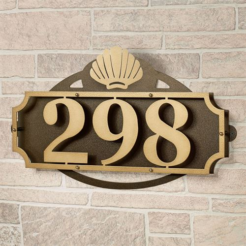 La Casa Shell House Number Wall Address Sign Gold/Bronze Shell