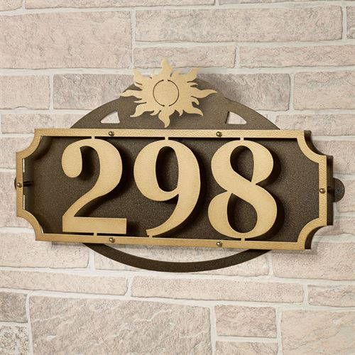 La Casa Sun House Number Wall Address Sign Gold/Bronze Sun