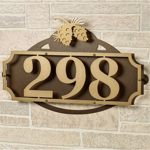 La Casa Pine Cone House Number Wall Plaque Gold/Bronze Wall