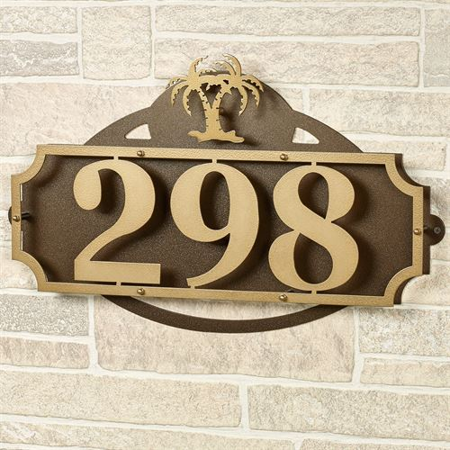 La Casa Palm Tree House Number Wall Plaque Gold/Bronze Wall