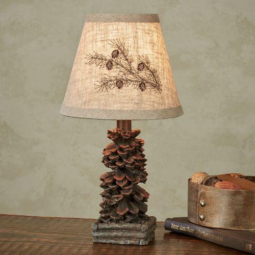 Colorado Pine Cone Mini Lamp Linen