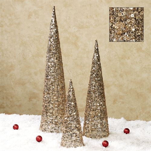 Glitter and Sequins Tree Accents Platinum Set of Three