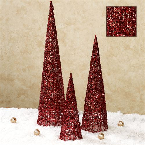 Glitter and Sequins Tree Accents Red Set of Three