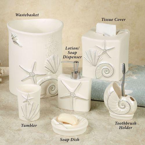 Sequin Shells Lotion Soap Dispenser Light Cream