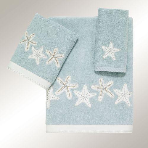 Sequin Shells Bath Towel Set Pale Aqua Bath Hand Fingertip