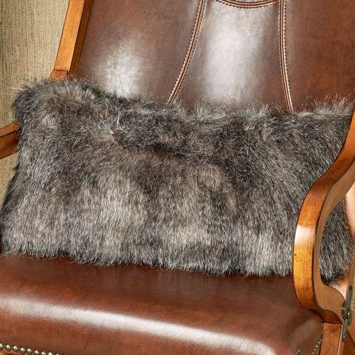Native Faux Fur Bolster Pillow Gray