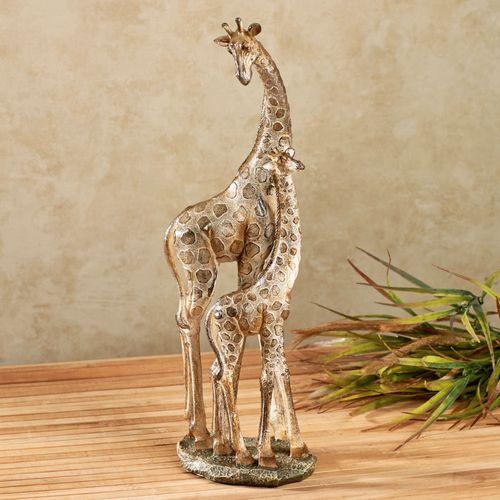 Giraffe Family Sculpture Champagne Gold