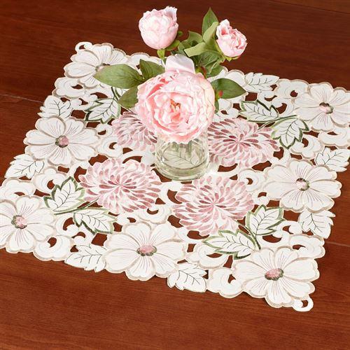 All Over Mums Small Table Topper Multi Pastel 20 Square