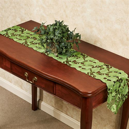 Foliage Green Long Table Runner Peridot 9 x 60