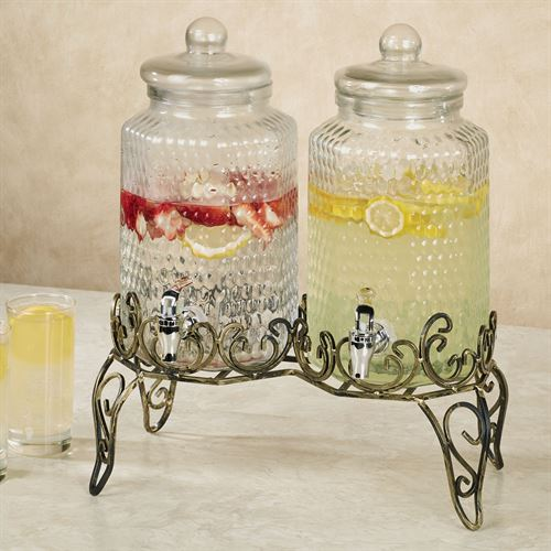 Double Beverage Dispenser Clear Set of Two