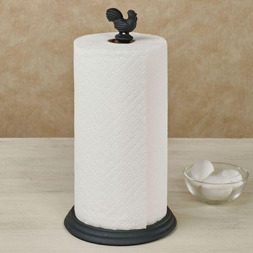 Rooster Paper Towel Holder Black