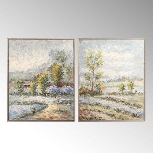 Wayward Rivers Framed Canvas Wall Art Multi Earth Set of Two
