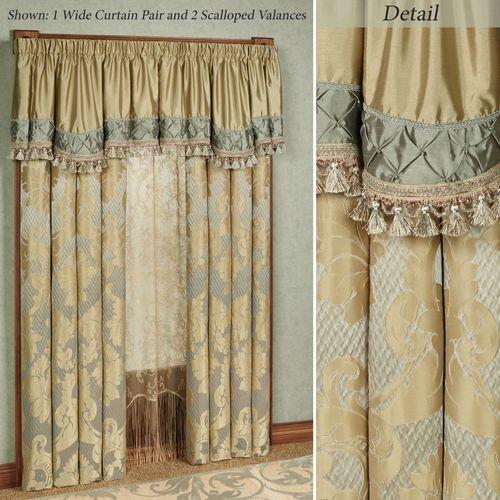 Duchess Wide Tailored Curtain Pair Seafoam 104 x 84
