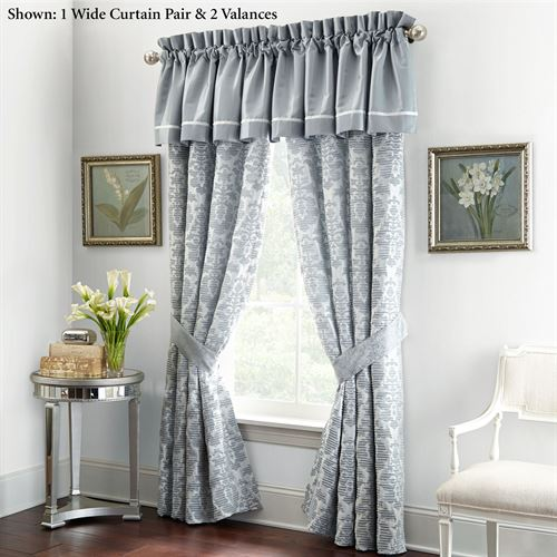 Abbey Wide Tailored Curtain Pair Sterling Blue 100 x 84