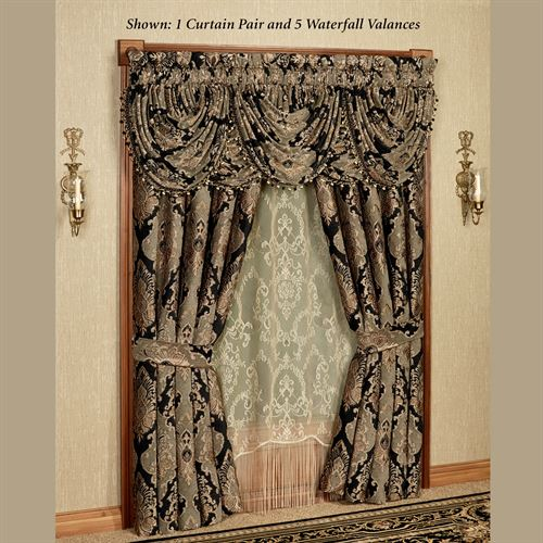 Bradshaw Black Tailored Wide Curtain Pair 100 x 84