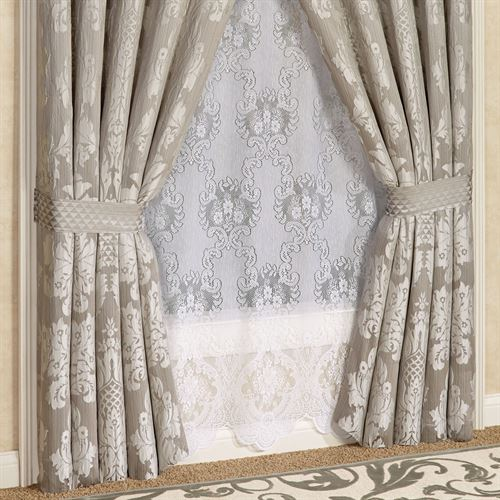 Chandelier Tailored Wide Curtain Pair Silver Gray 100 x 84