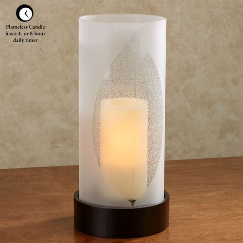 Medora LED Hurricane Candleholder Brown